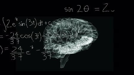 evolução : Animation of 3d human brain rotating in seamless loop over scientific mathematical formulae hand written on black background. Medicine neurology and global science concept digitally generated image. Coronavirus Covid19 testing Stock Footage