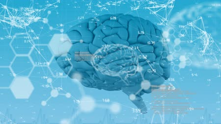 futuristický : Animation of 3d blue human brain over medical data processing and structural formulae of chemical compounds on blue background. Medicine neurology and global science concept digitally generated image. Coronavirus Covid19 testing