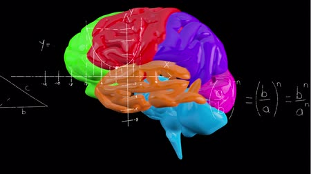biologia : Animation of multicoloured 3d human brain rotating in seamless loop over scientific mathematical formulae hand written on black background. Medicine neurology and global science concept digitally generated image. Coronavirus Covid19 testing