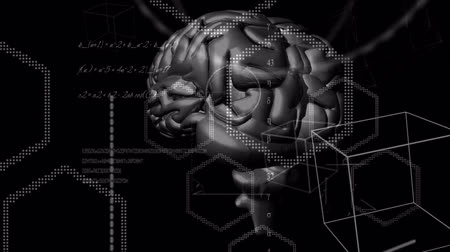biologia : Animation of 3d metallic human brain rotating in seamless loop over geometric shapes, scientific mathematical formulae hand written on black background. Medicine neurology and global science concept digitally generated image. Coronavirus Covid19 testing