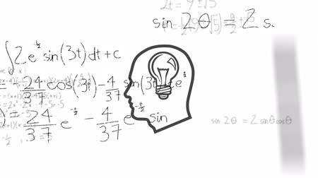 futuristický : Animation of outline of human head with lightbulb inside over scientific mathematical formulae hand written on white background. Medicine neurology and global science concept digitally generated image. Coronavirus Covid19 testing