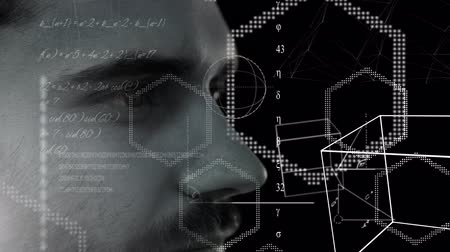 aprender : Animation of close up of profile of face of a man over geometric shapes and scientific mathematical formulae hand written on black background. Medicine neurology and global science concept digital composite. Coronavirus Covid19 testing