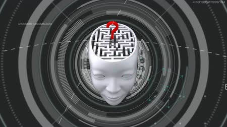 aprender : Animation of 3d human head with labyrinth in the brain and red question mark with scope scanning, network of connections over medical data processing on grey background. Medicine neurology and global scientific data processing concept digitally generated  Stock Footage