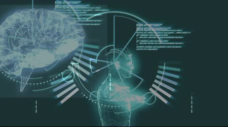 futuristický : Animation of 3d human brain and human model rotating in seamless loop with scop scanning over medical data processing and glowing green background. Medicine neurology and global scientific data processing concept digitally generated image. Coronavirus Cov Dostupné videozáznamy