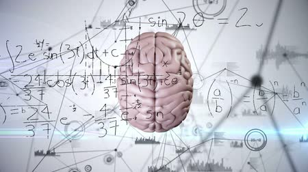 umělý : Animation of 3d human brain over spinning network of connections and scientific mathematical formulae hand written on white background. Medicine neurology and global science concept digitally generated image. Coronavirus Covid19 testing