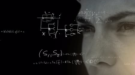 aprender : Animation of close up of face of a man over scientific mathematical formulae hand written on black background. Medicine neurology and global science concept digital composite. Coronavirus Covid19 testing