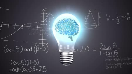 biologia : Animation of 3d human brain rotating in seamless loop in lit lightbulb over scientific mathematical formulae hand written on black background. Medicine neurology and global science concept digitally generated image.