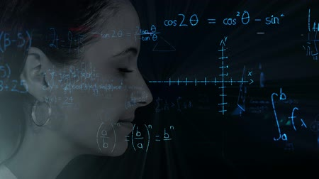 caucásico : Animation of profile of face of a woman over geometric shapes and scientific mathematical formulae hand written on black background. Medicine neurology and global science concept digital composite. Archivo de Video