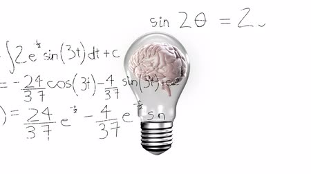 aprender : Animation of 3d human brain rotating in seamless loop in lighbulb over scientific mathematical formulae hand written on white background. Medicine neurology and global science concept digitally generated image. Coronavirus Covid19 testing Stock Footage