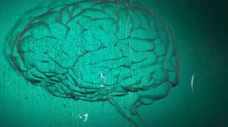 biologia : Animation of vintage distressed film showing a 3d human brain on green background. Retro medicine and neurology concept digitally generated image. Coronavirus Covid19 testing