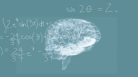 evolução : Animation of 3d human brain rotating in seamless loop over scientific mathematical formulae hand written on blue background. Medicine neurology and global science concept digitally generated image. Stock Footage