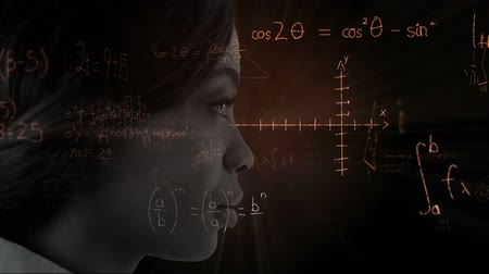 futuristický : Animation of close up of face of a woman over scientific mathematical formulae hand written on black background. Medicine neurology and global science concept digital composite.