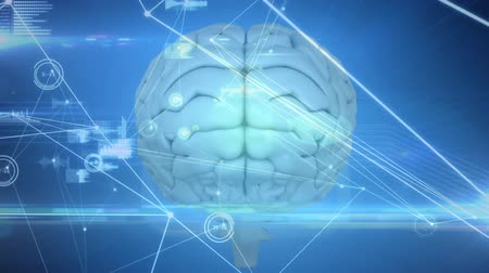 psikoloji : Animation of 3d human brain with network of connections and medical data processing on glowing blue background. Medicine neurology and global scientific data processing concept digitally generated image. Coronavirus Covid19 testing Stok Video