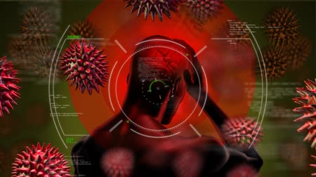 aprender : Animation of screen with 3d human model holding head with headache targeted by macro of coronavirus cells flowing and spreading in the background. Medicine public health pandemic coronavirus outbreak concept digitally generated concept. Coronavirus Covid1