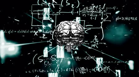 biologia : Animation of 3d metallic human brain rotating in seamless loop over scientific mathematical formulae hand written on black background. Medicine neurology and global science concept digitally generated image. Stock Footage