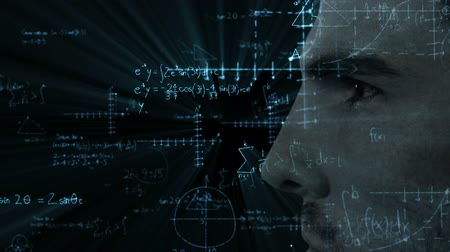 biologia : Animation of close up of face of a man over scientific mathematical formulae hand written on black background. Medicine neurology and global science concept digital composite. Stock Footage