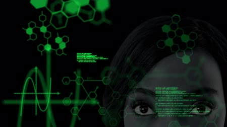 biologia : Animation of close up of female face with medical data processing and structural formulae of chemical compounds on black background. Medicine neurology and global science concept digital composite.. Stock Footage