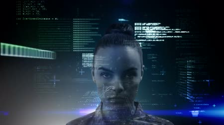 biologia : Animation of a woman over binary coding, data processing and recording on black glowing background. Medicine neurology and global science concept digital composite.