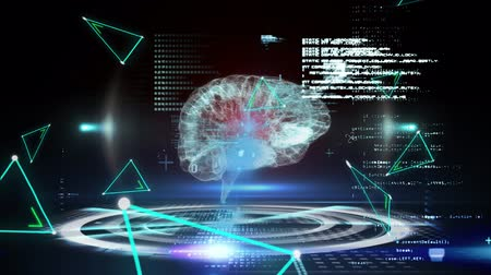 psikoloji : Animation of 3d human brain over data processing, binary coding and network of connections with green triangles on black background. Medicine neurology and global networking science concept digitally generated image. Coronavirus Covid19 testing Stok Video
