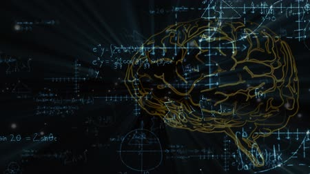 umělý : Animation of outline of human brain over scientific mathematical formulae hand written on black background. Medicine neurology and global science concept digitally generated image. Coronavirus Covid19 testing