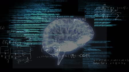 psikoloji : Animation of 3d human brain rotating in seamless loop over glowing green data processing and scientific formulae on black background. Medicine neurology and global science concept digitally generated image. Coronavirus Covid19 testing Stok Video
