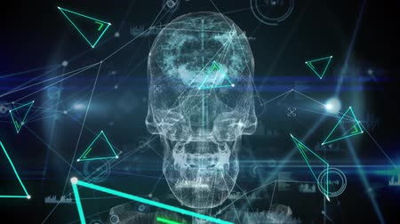 biologia : Animation of 3d human brain and skull over data processing, binary coding and network of connections with green triangles on black background. Medicine neurology and global communication concept digitally generated image. Coronavirus Covid19 testing Stock Footage