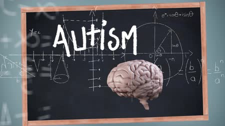 pszichológia : Animation of the word Autism written on school blackboard, 3d human brain over scientific mathematical formulae hand written in the background. Medicine neurology and global science concept digitally generated image.