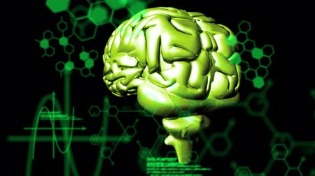Animation of 3d green glowing human brain rotating in seamless loop over medical data processing and structural formulae of chemical compounds on black background. Medicine neurology and global science concept digitally generated image. Coronavirus Covid1 Stock Footage