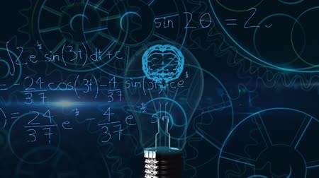 umělý : Animation of 3d blue human brain in lightbulb over scientific mathematical formulae hand written on blue background. Medicine neurology and global science concept digitally generated image.