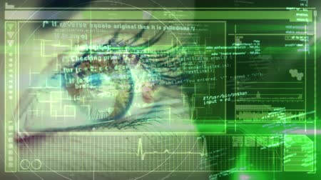 biologia : Animation of close up of human eye with globe processing, medical data processing on green background. Medicine neurology and global scientific data processing concept digitally generated image.