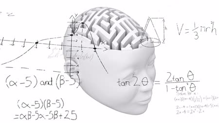 umělý : Animation of 3d human brain formed of labyrinth with scientific mathematical formulae hand written on white background. Medicine neurology and global science concept digitally generated image.
