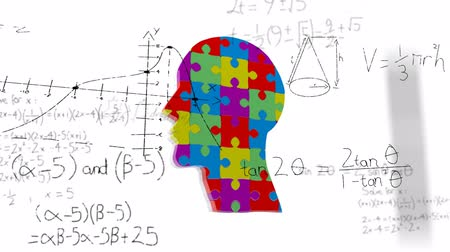 Animation of human head formed with colourful puzzle pieces over scientific mathematical formulae hand written on white background. Medicine neurology and global science concept digitally generated image.