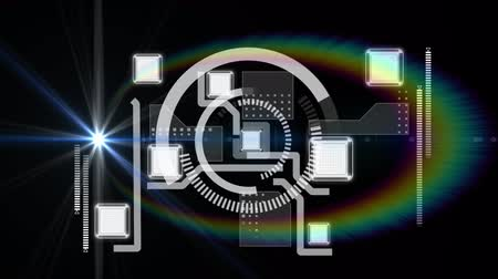 Animation of network of connections, scope scanning and data processing with rainbow halo on black background. Digital computer interface communication and connection concept digitally generated image. Stock Footage