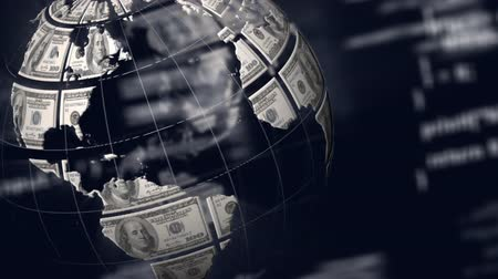 global business : Animation of globe made with American dollars spinning and data processing and scrolling on blue background. Global finance and digital computer interface communication and connection concept digitally generated image. Stock Footage