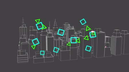 Animation of data processing and colourful geometric shapes flowing with a 3d architectural model of a modern city spinning on grey background. Digital computer interface communication and connection concept digitally generated image.