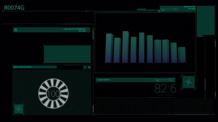 futuristický : Animation of scope scanning data processing and statistics recording on black background. Digital computer interface communication and connection concept digitally generated image.