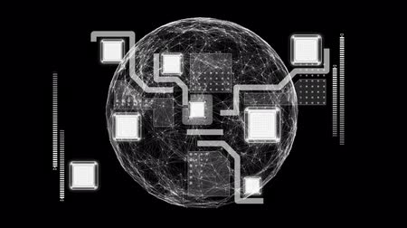 Animation of globe, network of connections, scope scanning and data processing on black background. Digital computer interface communication and connection concept digitally generated image. Stock Footage