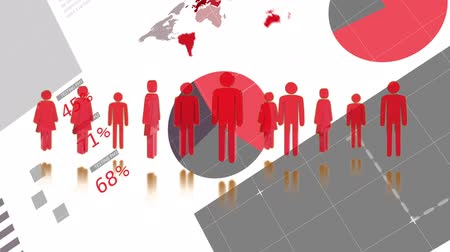 global business : Animation of red people icons, scope scanning data processing and statistics recording on white background. Digital computer interface communication and connection concept digitally generated image. Coronavirus Covid19 testing Stock Footage