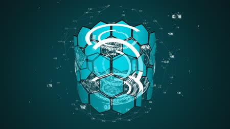 global business : Animation of scope scanning data processing and statistics recording with cylinder formed with hexagons spinning on blue background. Digital computer interface communication and connection concept digitally generated image.