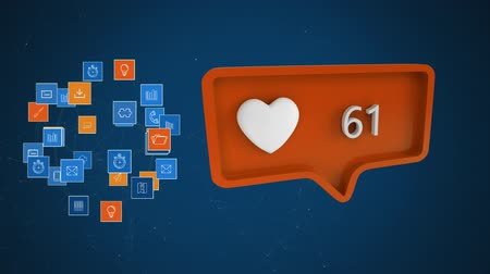 bolha : Animation of orange speech bubble with heart icon and numbers growing from zero to one hundred, networks of connections of multiple interface icons forming a globe and spinning on blue background. Digital computer interface communication and connection co Stock Footage