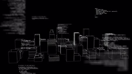 Animation of data processing and recording with a 3d architectural model of a modern city spinning on black background. Digital computer interface communication and connection concept digitally generated image.