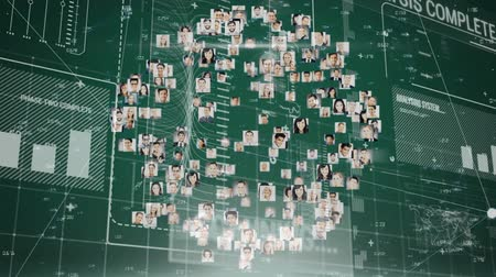 global business : Animation of network of connections of multiple photos forming a globe and spinning with connection links and data processing and recording on green background. Digital computer interface communication and connection concept digitally generated image.