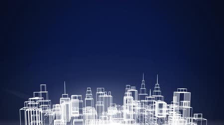 global business : Animation of white outlines of a 3d architectural model of a modern city spinning on blue background. Digital computer interface communication and connection concept digitally generated image.