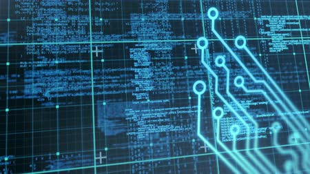 global business : Animation of blue data scrolling and statistics recording with computer circuit board processing information on black background. Digital computer interface communication and connection concept digitally generated image. Stock Footage