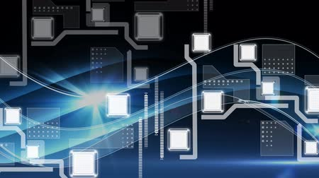 global business : Animation of network of connections, markers scanning and data processing on glowing blue and black background. Digital computer interface communication and connection concept digitally generated image. Stock Footage