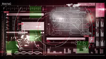 Animation of scope scanning data processing and statistics recording on glowing background. Digital computer interface communication and connection concept digitally generated image. Stock Footage