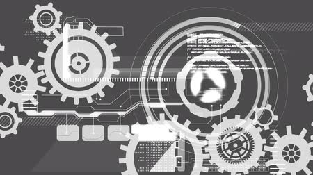 global business : Animation of cogs spinning, scope scanning and data processing on grey background. Digital computer interface communication and connection concept digitally generated image. Stock Footage
