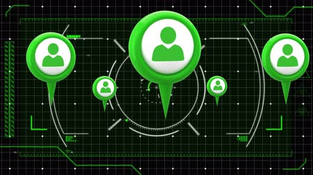 global business : Animation of green people icons, scope scanning data processing and markers moving on grid on black background. Digital computer interface communication and connection concept digitally generated image. Stock Footage