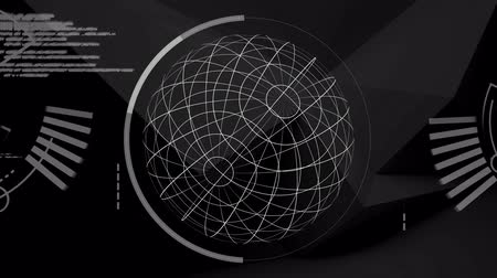 global business : Animation of globe spinning, scope scanning data processing and statistics recording on black background. Digital computer interface communication and connection concept digitally generated image. Stock Footage