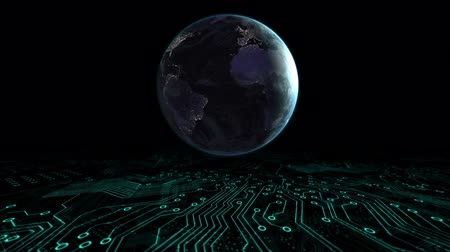 global business : Animation of globe spinning data processing with computer processor green circuit board elements moving on black background. Digital computer interface communication and connection concept digitally generated image. Stock Footage
